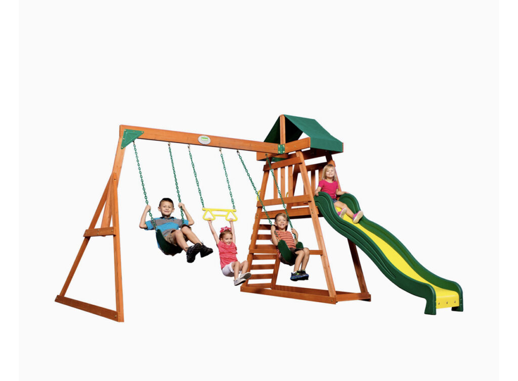 Backyard Discovery Prescott All Cedar Wood Playset Swing Set